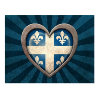 Aged Quebecois Flag Heart with Light Rays Postcard