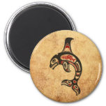Aged Red and Black Haida Spirit Killer Whale 2 Inch Round Magnet
