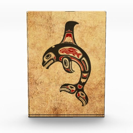 Aged Red and Black Haida Spirit Killer Whale Award