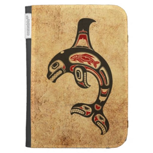 Aged Red and Black Haida Spirit Killer Whale Cases For Kindle