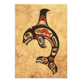 Aged Red and Black Haida Spirit Killer Whale Personalized Invites