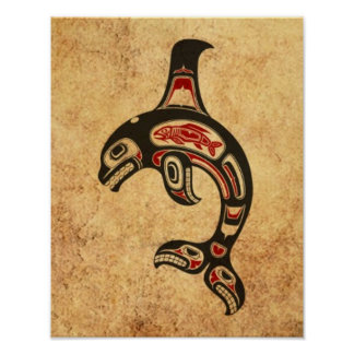 Aged Red and Black Haida Spirit Killer Whale Print