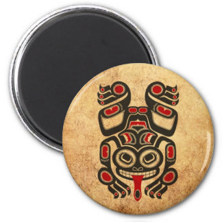 Aged Red and Black Haida Spirit Tree Frog Magnets