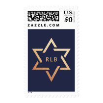 Aged Rose Gold Star of David with Monogram Blue Postage