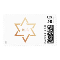 Aged Rose Gold Star of David with Monogram Postage