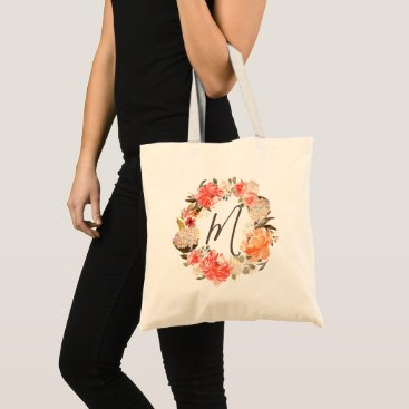 Wedding Themed Aged Rust Peach Floral Watercolor Wreath Monogram Tote Bag