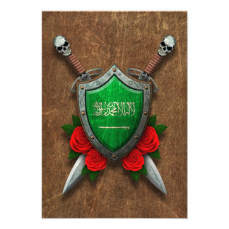 Aged Saudi Arabia Flag Shield with Red Roses Personalized Invitation
