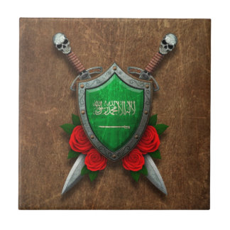 Aged Saudi Arabia Flag Shield with Red Roses Tiles