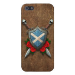 Aged Scottish Flag Shield and Swords with Roses Cover For iPhone 5