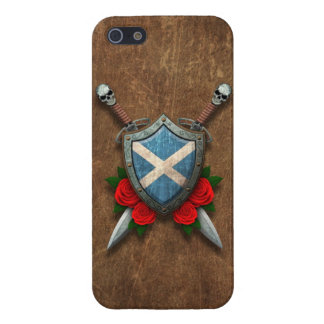 Aged Scottish Flag Shield and Swords with Roses iPhone SE/5/5s Cover