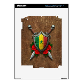 Aged Senegal Flag Shield and Swords with Roses iPad 3 Decals