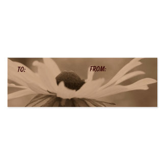 Aged Sepia Black Eyed Susan Flower Gift Tag Business Card Template