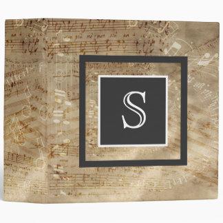 Aged Sheet Music Paper Monogram Binder
