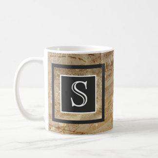 Aged Sheet Music Paper Monogram Coffee Mug