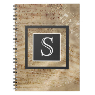 Aged Sheet Music Paper Monogram Notebook