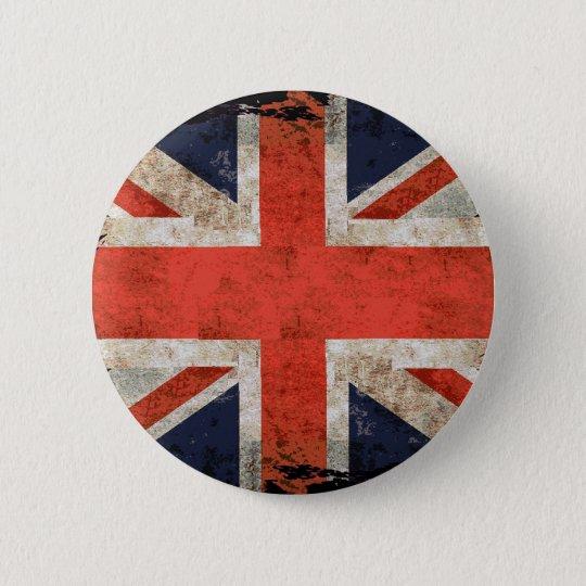 Aged shredded Union Jack Button