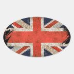 Aged shredded Union Jack Oval Sticker