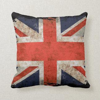 Aged shredded Union Jack Throw Pillow