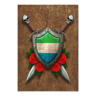 Aged Sierra Leone Flag Shield and Swords with Rose 3.5x5 Paper Invitation Card