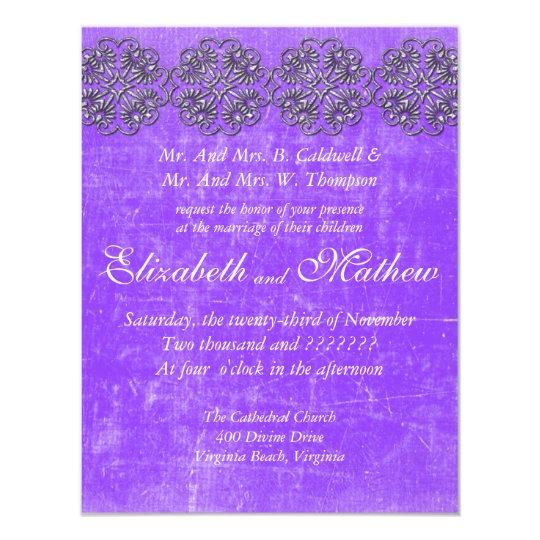 Aged Silver Damask Border Wedding Invitation