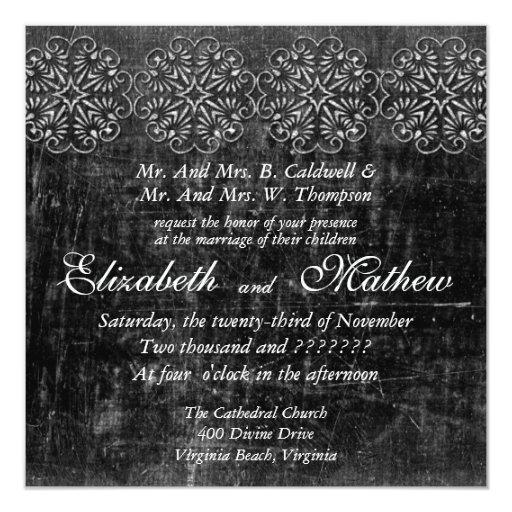 Aged Silver Wedding Invitation