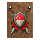 Aged Singapore Flag Shield and Swords with Roses Custom Invite