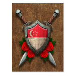 Aged Singapore Flag Shield and Swords with Roses Postcard