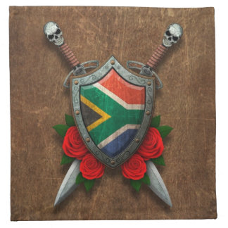 Aged South African Flag Shield and Swords with Ros Cloth Napkin