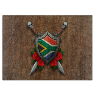 Aged South African Flag Shield and Swords with Ros Cutting Board