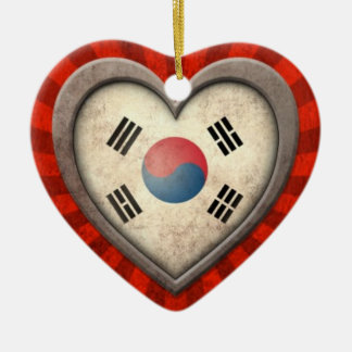 Aged South Korean Flag Heart with Light Rays Ceramic Ornament