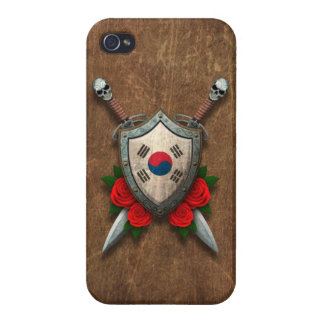 Aged South Korean Flag Shield and Swords with Rose iPhone 4/4S Cases