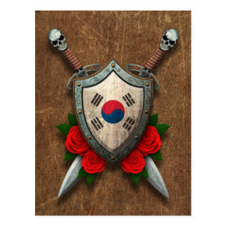 Aged South Korean Flag Shield and Swords with Rose Postcard
