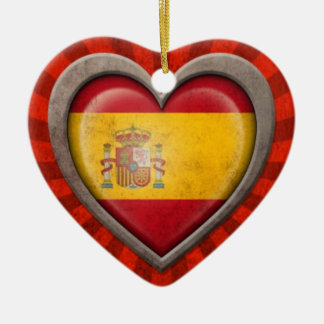 Aged Spanish Flag Heart with Light Rays Christmas Tree Ornaments