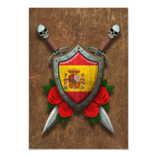 Aged Spanish Flag Shield and Swords with Roses Custom Invitation