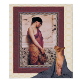 Aged Sphynx Cat and Young Godward Woman Poster
