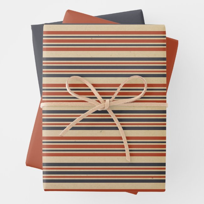 Aged Stripes Army Boot Camp Soldier Wrapping Paper Sheets