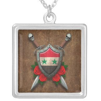 Aged Syrian Flag Shield and Swords with Roses Pendant