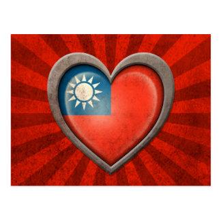 Aged Taiwanese Flag Heart with Light Rays Postcard