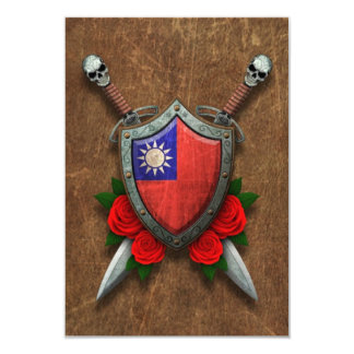Aged Taiwanese Flag Shield and Swords with Roses 3.5x5 Paper Invitation Card