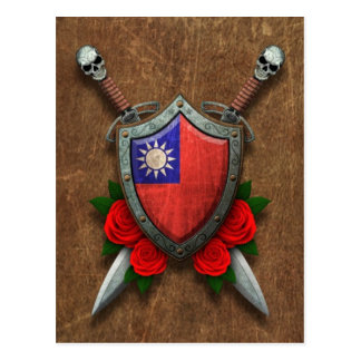Aged Taiwanese Flag Shield and Swords with Roses Postcard