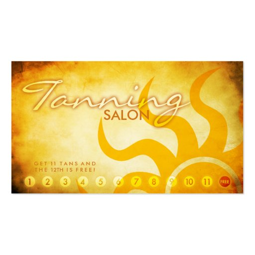 aged tanning salon loyalty card business cards