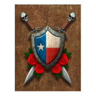 Aged Texas Flag Shield and Swords with Roses Postcard