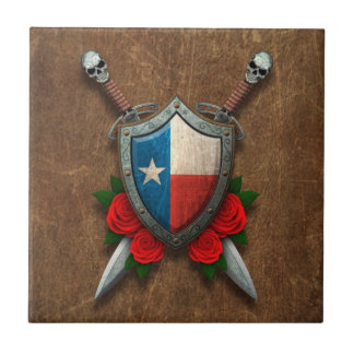 Aged Texas Flag Shield and Swords with Roses Tiles