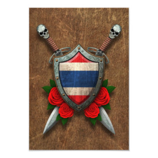 """Aged Thai Flag Shield and Swords with Roses 3.5"""" X 5"""" Invitation Card"""