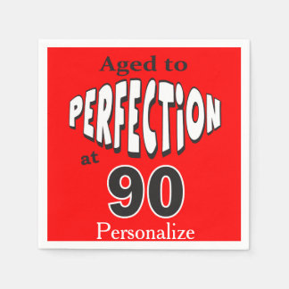Aged to Perfection at 90 | 90th Birthday Napkin