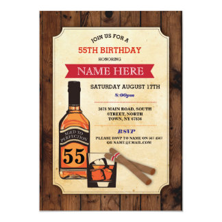 Aged to Perfection Birthday Whisky Cigar Invite