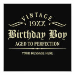 "Aged to Perfection Black 5.25""x5.25"" Invitation"