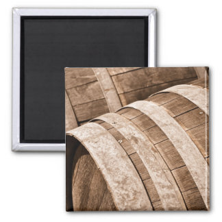 Aged to Perfection Wine Barrels Vintage Cellar 2 Inch Square Magnet