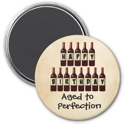 Aged to Perfection Wine Lover Happy Birthday 3-inch Round Magnet