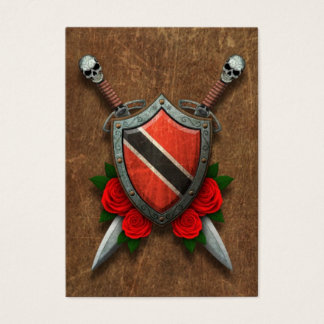 Aged Trinidad and Tobago Flag Shield and Swords Business Card
